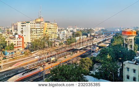 Skyline Of Vadodara, Formerly Known As Baroda, With The Railway Station. Gujarat State Of India