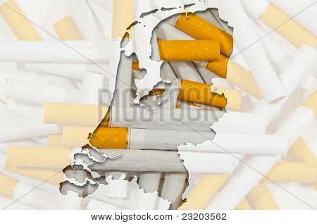 Outline Map Of Netherlands With Cigarettes In Background