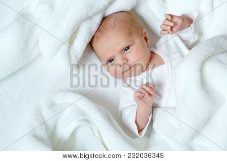 Cute Adorable Newborn Baby In White Bed And Wrapped In Blanket. New Born Child, Little Girl Looking