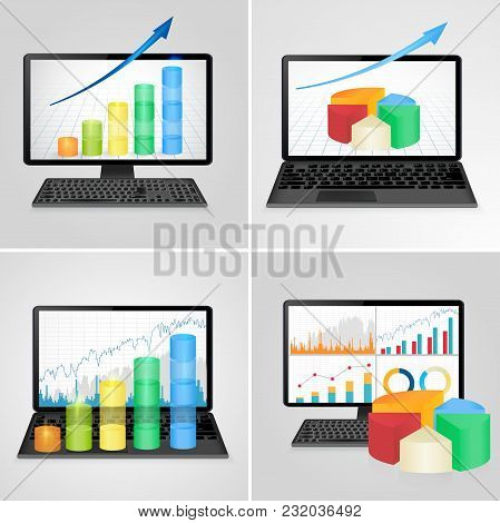 Computers And Laptops With Financial Charts And Graphs - Business, Finance, Accounting Statistic Con