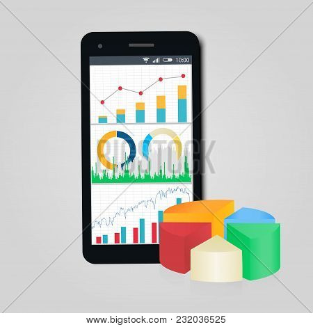 Graph And Diagrams. Mobile Phone. Concept Of Business, Finance, Accounting Statistic. Vector Illustr