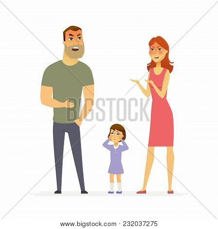 Family Argument - Cartoon People Character Isolated Illustration On White Background. An Image Of A