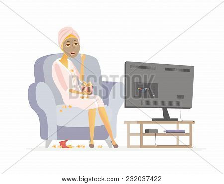 Lazy Weekend - Cartoon People Character Isolated Illustration On White Background. An Image Of A You