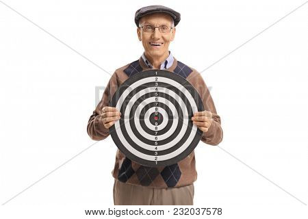 Elderly man holding a target and smiling isolated on white background