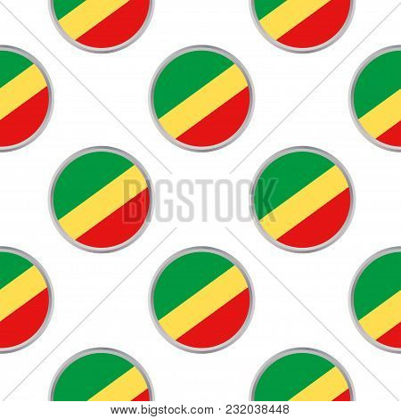 Seamless Pattern From The Circles With Flag Of Republic Of The Congo. Vector Illustration