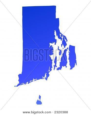 Blue Gradient Rhode Island Map, Usa
