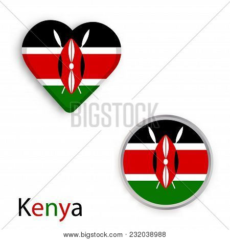 Heart And Circle Symbols With Flag Of Republic Of Kenya. Vector Illustration