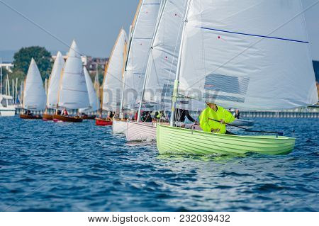 12 Foot Dinghies Line Up For The Start Of A Regatta