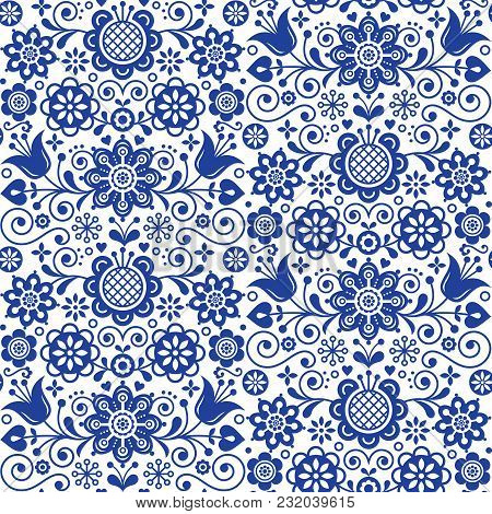 Floral seamless folk art vector pattern, Scandinavian navy blue repetitive design, Nordic ornament with flowers poster