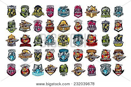 A Huge Colorful Collection Of Emblems, Logos, Badges Of Knights, Horsemen, Soldiers. Swordsman With