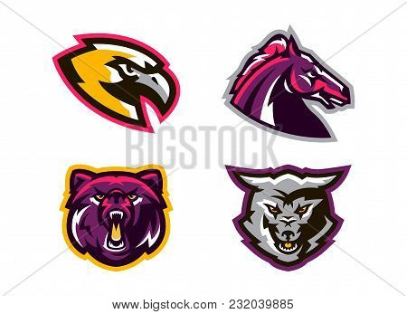 Collection Of Animal Logos. A Wolf, A Coyote, A Bear, A Grizzly, A Hawk, An Eagle, A Horse, A Stalli