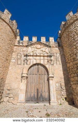 Ancient Door Of Wall In Penaranda De Duero Village