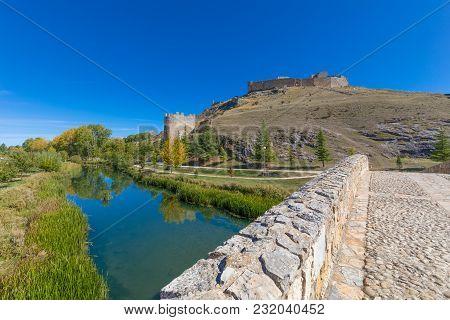 Bridge River And Ruins Of Castle In Burgo De Osma