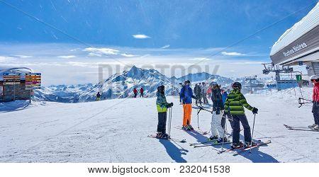 La Rosiere, France - March 4, 2018: Skiing In The San Bernardo Pass Area On 4 March 2018 In La Rosie