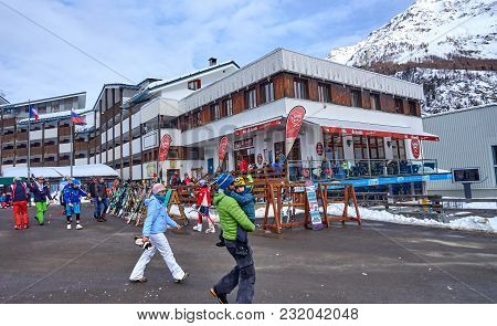 La Thuile, Italy - March 4, 2018: Ski Station On 4 March 2018 In La Thuile, Italy. The San Bernardo