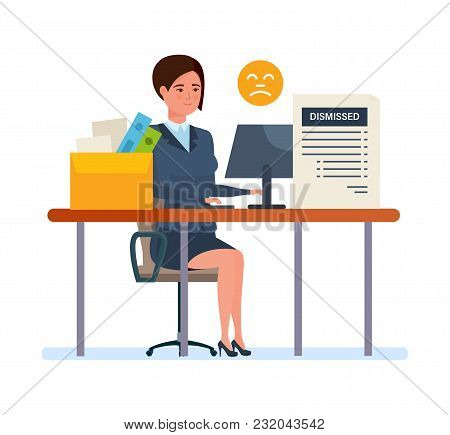 Dismissal From Work. Woman Working Cartoon, With Box With Documents And Accessories, Dismissal From