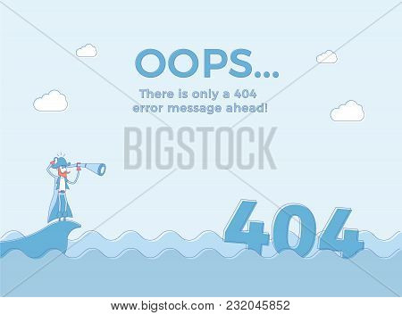 Flat Line Concept For Page Not Found 404 Error. Vector Illustration Background With A Pirate Sailing