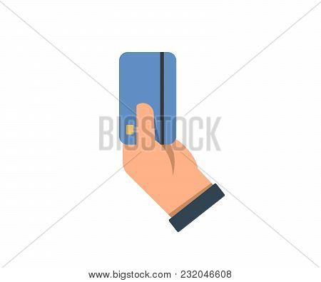 Hand Holding Credit Card. Vector Icon Illustration In Flat Style. Payment With Credit Debit Card Con