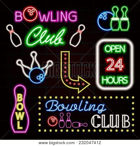 Bowling Neon Sign Set. Bowling Club Logo, Emblem. Vector Illustration Eps10