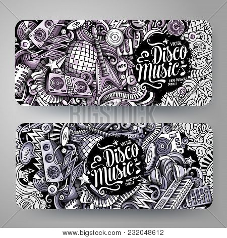 Cartoon Graphics Vector Hand Drawn Doodles Disco Music Corporate Identity. 2 Horizontal Banners Desi