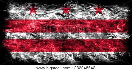 District Of Columbia City Smoke Flag, Washington, Maryland And Virginia State, United States Of Amer