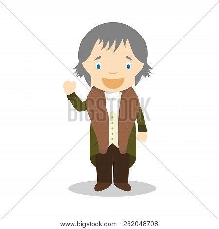 Friedrich Hegel Cartoon Character. Vector Illustration. Kids History Collection.