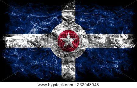 Indianapolis City Smoke Flag, Indiana State, United States Of America