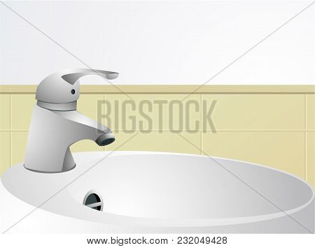 Bathroom Interior With Wash-hand Basin - Vector Illustration