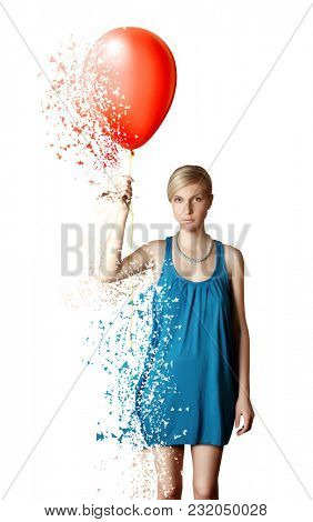 Collapsing woman in blue dress with the red balloon. Collapsing and blowing woman shape