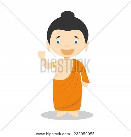 Siddhartha Gautama Cartoon Character. Vector Illustration. Kids History Collection.