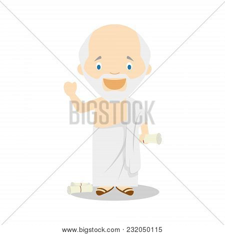 Socrates Cartoon Character. Vector Illustration. Kids History Collection.