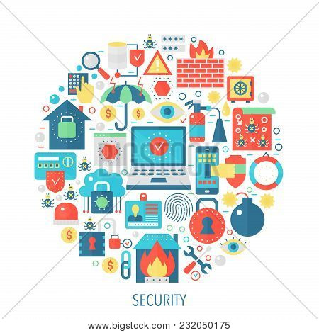 Security Flat Infographics Icons In Circle - Color Concept Illustration For Security Cover, Emblem,