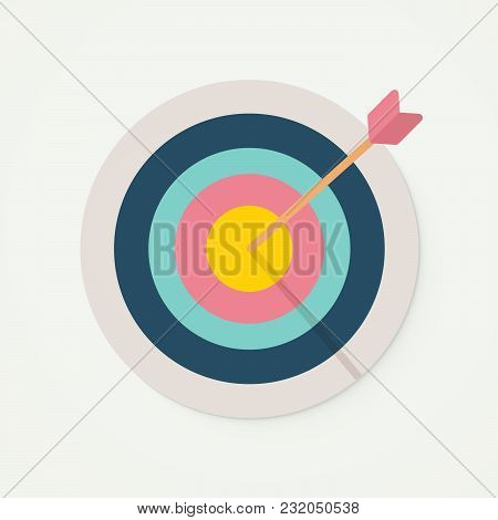 Target With Perfect Aim Arrow. Vector Illustration For Target Market , Audience And Consumer, Succes