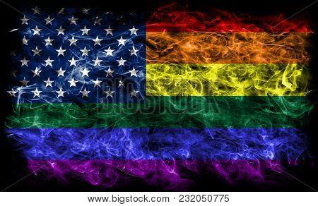 Usa Gay  Smoke Flag, Lgbt Usa Flag