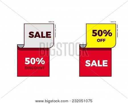 Sale Discount On Modern Trendy Geometric Design With Bright Red And Yellow Colors And Thin Outline.