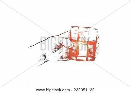 Time To Drink Concept. Hand Drawn Persons Hand With Glass Of Whiskey. Male Hand With Shot Of Rum, Wh