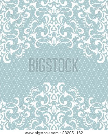 Vector Lace Pattern In Eastern Style On Light Blue Background. Ornate Element For Design. Place For
