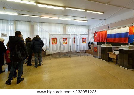 Balashikha, Russia - March 18, 2018. Polling Station At A School Used For Russian Presidential Elect