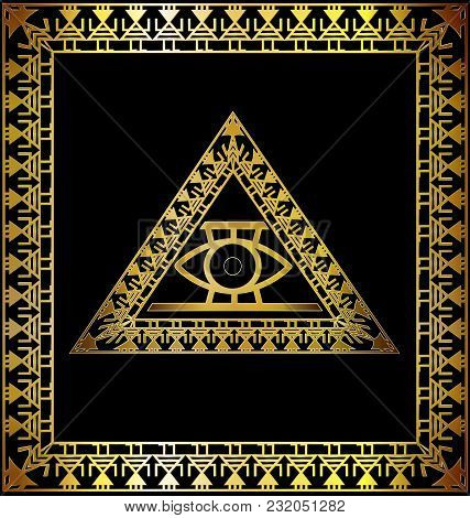 Dark Background With Golden Frame And Abstract Colored Image Of Triangle With Eye Consisting Of Line