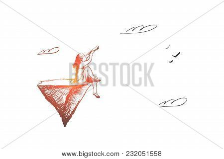 Girl With Spyglass Concept. Hand Drawn Child Looking On Sky With Spyglass. Concept Of Adventure And