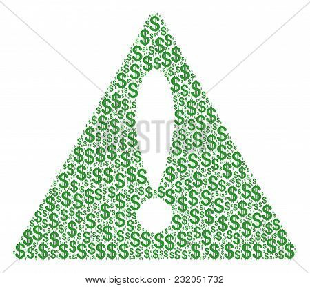 Caution Sign Collage Composed Of Dollar Pictograms. Vector Dollar Items Are Composed Into Mosaic Not