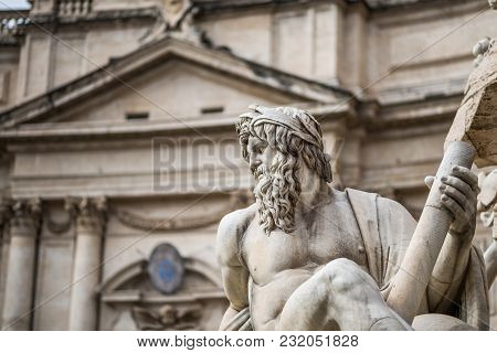 Fontana Dei Quattro Fiumi - Fountain Of The Four Rivers In Piazza Navonna, Roma, Italy.