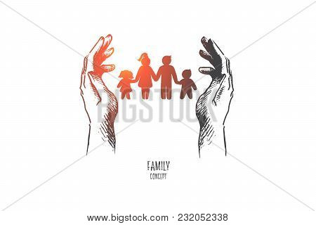 Family Concept. Hand Drawn Silhouette Of Family Mother Father And Children. Happy Family Concept Pos