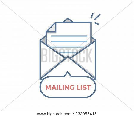 Mailing List Vector Icon. Opened Envelope With Paper Coming Out