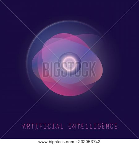 Ai Technology Concept. Futuristic Artificial Intelligence. Camera Eye With Gradient Circles And Glow