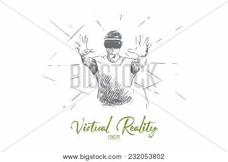 Virtual Reality Concept. Hand Drawn Person With Virtual Reality Glasses. Man Using Virtual Reality H