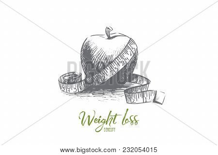 Weight Loss Concept. Hand Drawn Apple With Measuring Tape. Fruit As Healthy Food And Symbol Of Diet