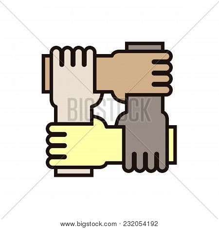 4 Hands Holding Eachother. Vector Icon For Concepts Of Racial Equality, Teamwork, Community And Char