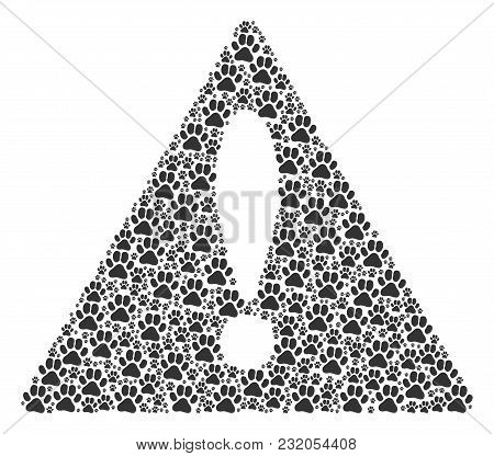 Important Triangle Sign Composition Created Of Paw Footprint Elements. Vector Paw Footprint Items Ar