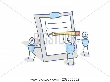 Happy little characters working as a team filling the to do list planner. Doodle illustration for business and other concepts related with efficiency, teamwork, organization, partnership.